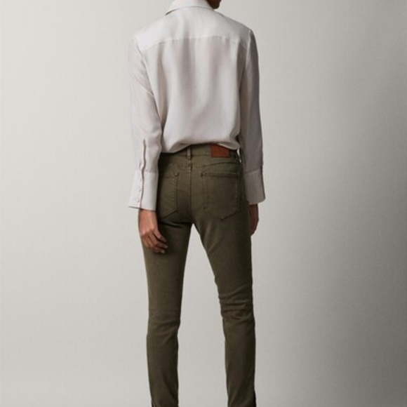 Massimo Dutti Pants - Mid-rise skinny fit twill trousers